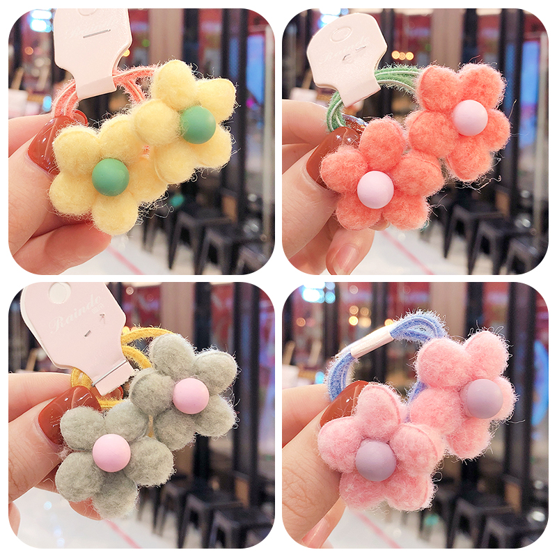 2020 2Pcs/Set Children Cute Candy Flowers Bead Elastic Hair Bands Girls Lovely Scrunchies Rubber Bands Kids Hair Accessories