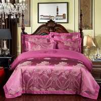 FUNBAKY 4pcs/Set Satin Jacquard Silk Luxury Bedding Sets Duvet Cover Set Bed Linings Wedding Bedclothes Home Textile