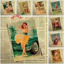 Cartel Slender Girl Serie 2 de papel Kraft clásico Bar Café sala comedor pinturas decorativas de pared decoración del hogar