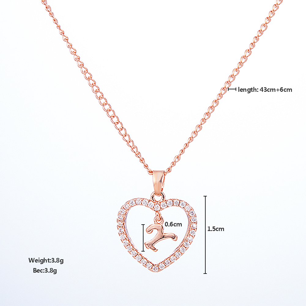 Romantic Love Pendant Necklace For Girls 2019 Women Rhinestone Initial Letter Necklace Alphabet Gold Collars Trendy New Charms 3