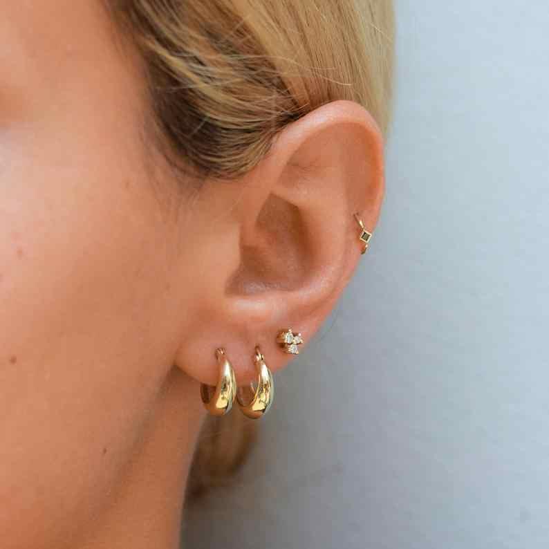 Cute gold plated hoops White Zircon Dainty Earrings,Small earrings,Tiny Hoop Earrings,Silver Minimalist Round Double Zircon hoops