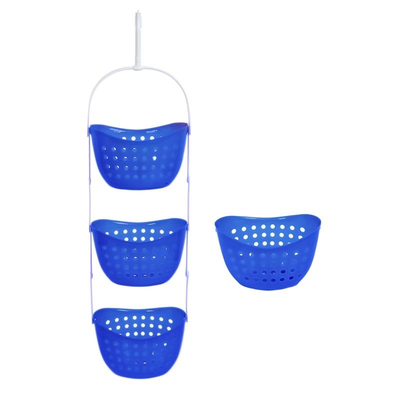 3 Tier Shower Caddy Bath Rack Plastic Hanging Over Basket Unit Shower Organiser, Blue