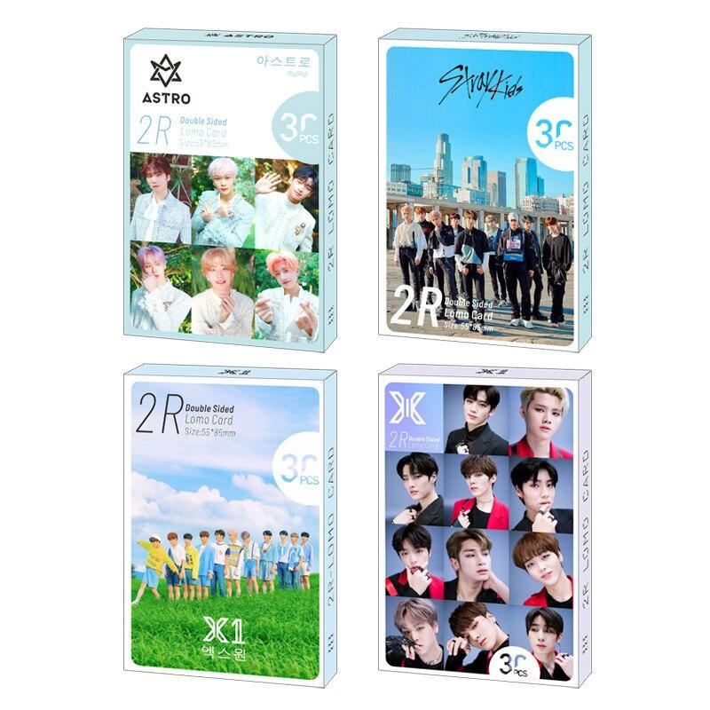 30pcs/set Kpop Stray Kids Double Print Signture Photocard High Quality Twice EXO X1 ASTRO BLACKPINK Album Poster Kpop Lomo Card