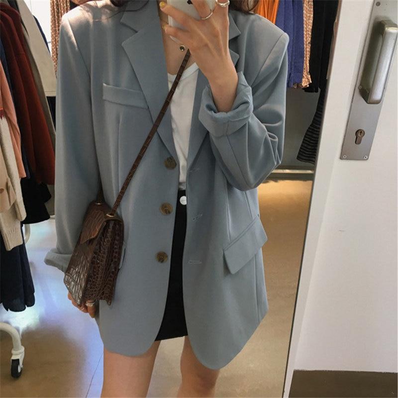 HziriP Hot Elegant Blue Retro Chic High Street Loose Suit Vintage Office Ladies Feminine All Match Slender Women Plus Blazers