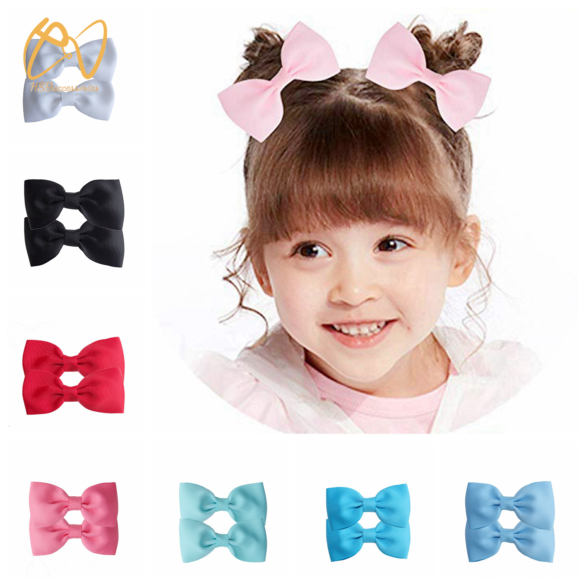Hsd Accessories 40 Colors Comes In Pairs Baby Girls Grosgrain Ribbon Bows Hair Bow Clips Barrettes For  Babies Toddlers