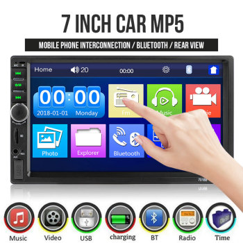 Vehemo Autoradio 2Din Car Radio 7'' Touch Screen Stereo Multimedia MP5 Player USB FM Bluetooth Audio Support Rear View Camera image
