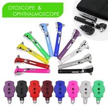 Ophthalmoscope direto da fibra óptica do diodo emissor de luz conjunto de cuidados auditivos endoscópio ent exame diagnóstico kit