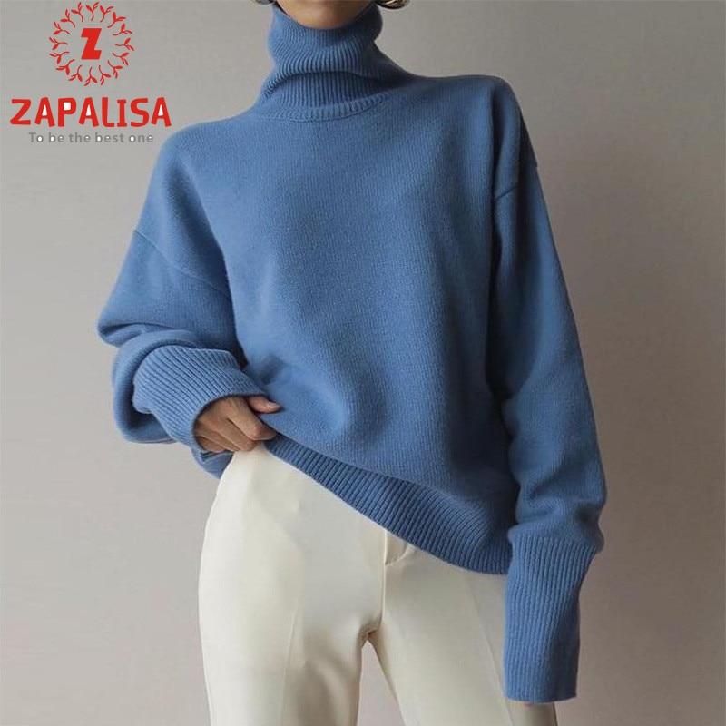 ZAPALISA Sweet Blue Turtleneck Knit Pullovers Elegant Loose Solid Color Comfort Warm Long Sleeve Winter Women Sweater