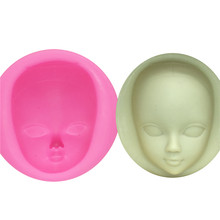 Girl Face Silicone Mold Fondant Molds Cake Decorating Tools woman mask Gumpaste Mould Polymer Clay Resin Molds(China)