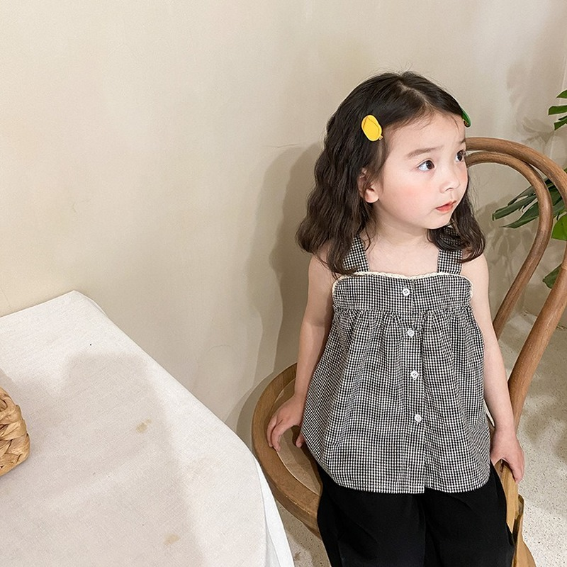 Girls korean style cotton sleeveless shirts 2021 summer children plaid lace patchwork suspenders Tops