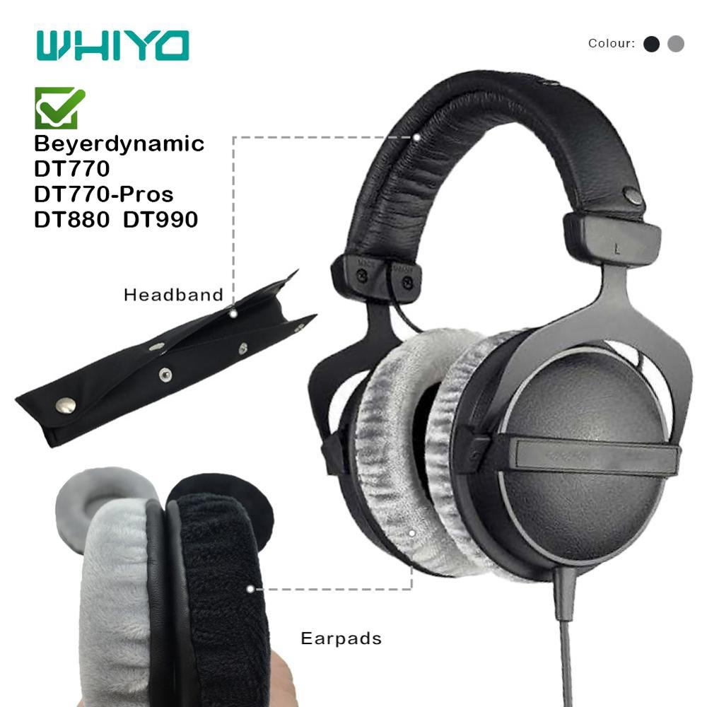 Whiyo Soft Velvet Replacement EarPads Headband for Beyerdynamic DT770 DT770-PROs DT880 DT990 Headset Cushion Cover Bumper Pads