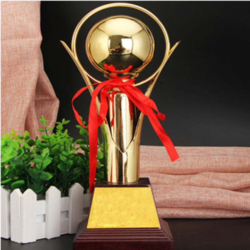 Custom Golden Ball Champion League Trophy Cup Gold-plated Craft Creative Souvenirs Cup Team Sports Competition Awards Academy