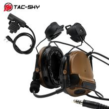 TAC-SKY COMTAC III helmet bracket silicone earmuff version noise reduction pickup military tactical headset  + interphoneU94 PTT