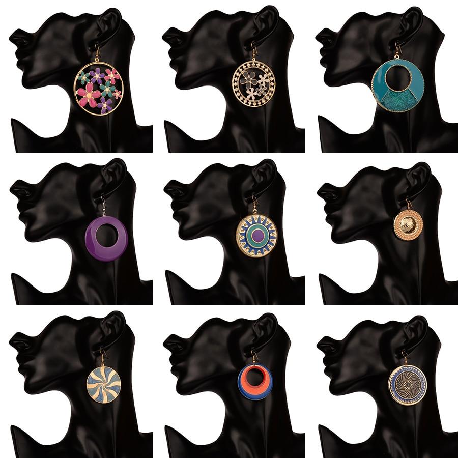 Большие богемные круглые серьги для женщин большие шикарные Серьги Висячие цветные эмалированные Серьги Hyperbole модные ювелирные изделия Bohe ...