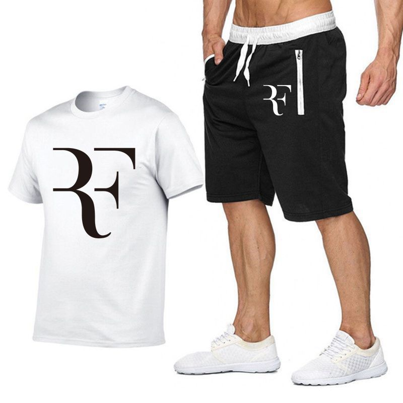 Image 3 - Roger Federer RF Tracksuit Summer Shirt +Shorts Outwear Sporting Men Sets T Shirts clothing Two piece suit Casual Tshirt-in Men's Sets from Men's Clothing