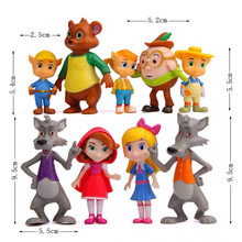 9pcs/set Goldie Bear Goldilocks and the Three Bears Big bad wolf Little Red Riding Hood Fairy Tale Forest Friends model Toys