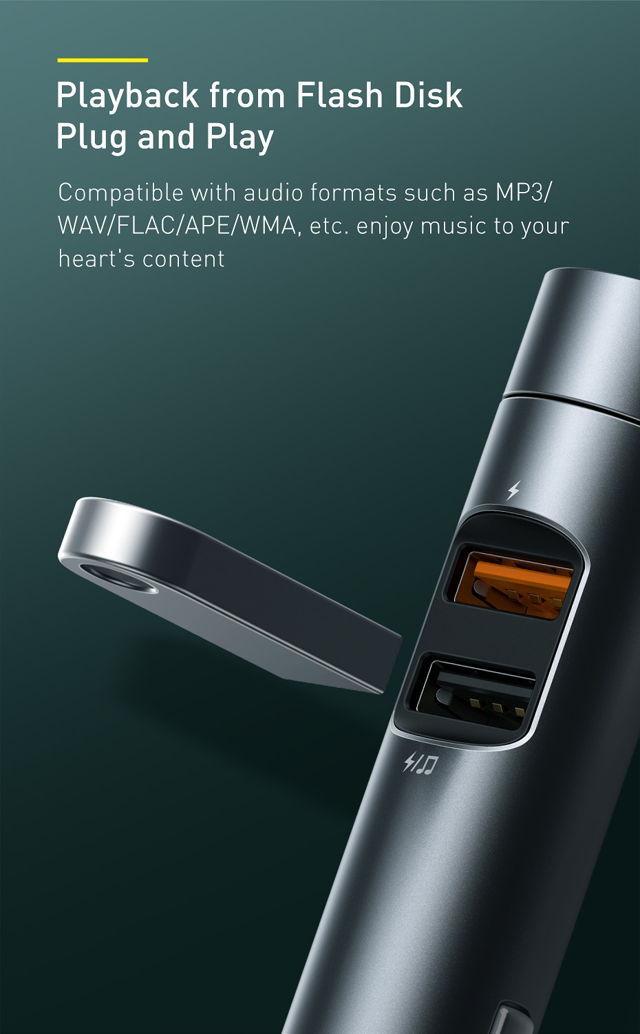 Baseus 18W Car Charger with MP3 Player 8