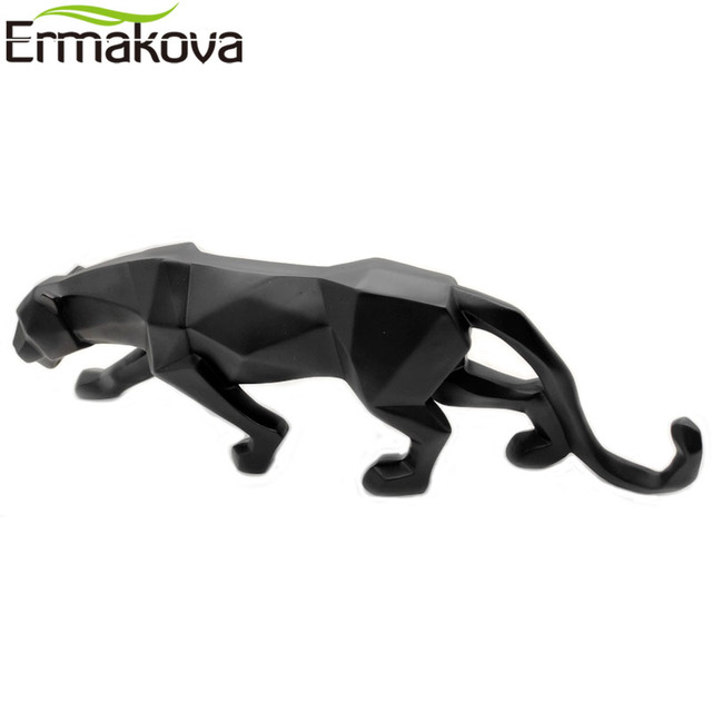 ERMAKOVA Panther Statue Animal Figurine Abstract Geometric Style Resin Leopard Sculpture Home Office Desktop Decoration Gift 6