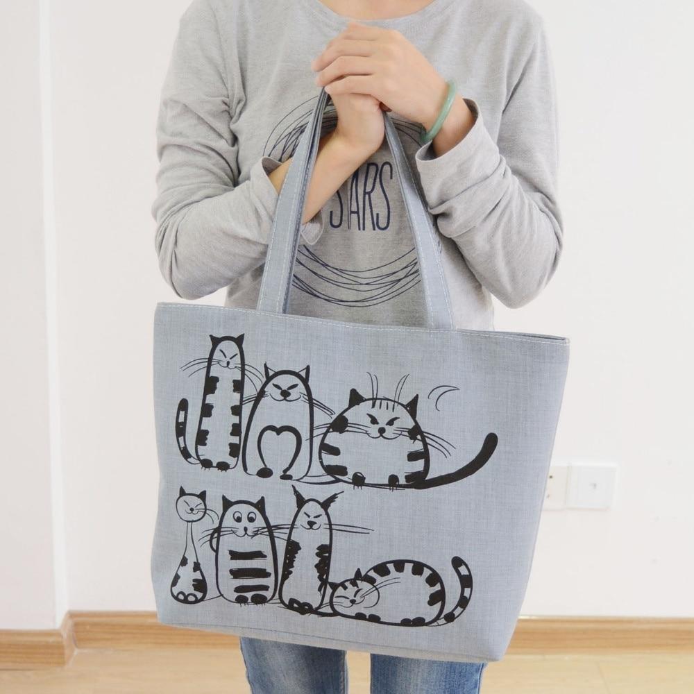 New Harajuku Cartoon Cats Print Zipper Bag Canvas Shoulder Bag Messenger Satchel Tote Shopping Handbag