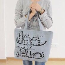 New Harajuku Cartoon Cats Print Zipper Bag Canvas Shoulder Bag Messenger Satchel Tote Shopping Handbag stylish geometric print and zipper design women s tote bag