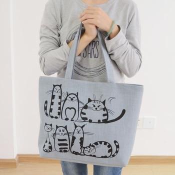 New Harajuku Cartoon Cats Print Zipper Bag Canvas Shoulder Bag Messenger Satchel Tote Shopping Handbag calico print tote bag