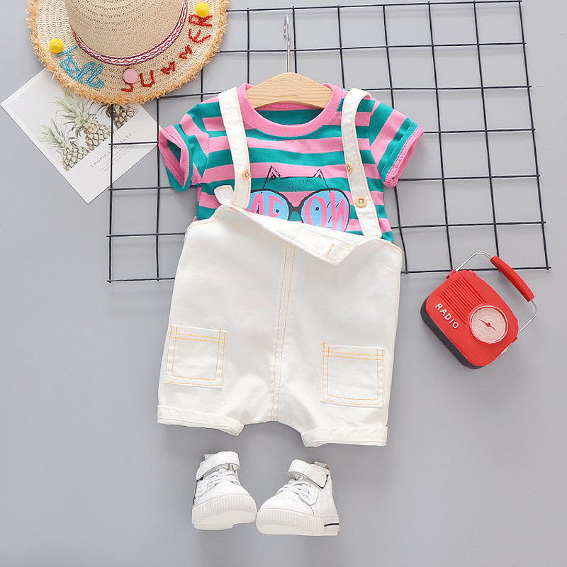 Baby Kids Clothes For Girls Boys Sets Cotton Striped Top With Overalls Children Holiday Outfit Toddler Boy Dress Up