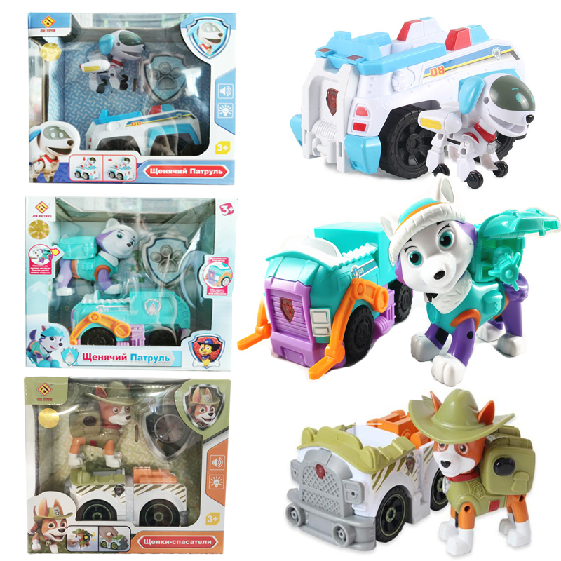 Paw Patrol Juguetes Everest Tracker Robot Dog Music Car Patrulla Canina Action Figures Christmas Toys For Children Gifts 2A26