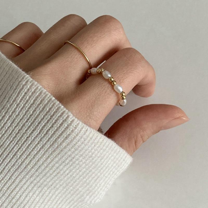 Купить женские корейские кольца с пресноводным жемчугом элегантные
