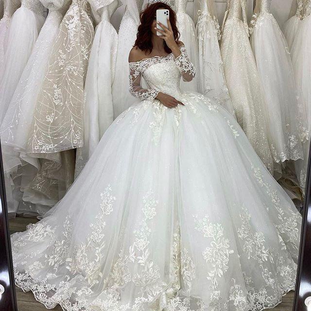 Gorgeous Dubai Ball Gown Wedding Dresses 2020 Vestido De Novia Princesa Long Sleeve Lace Appliques Wedding Gowns Bridal Dress