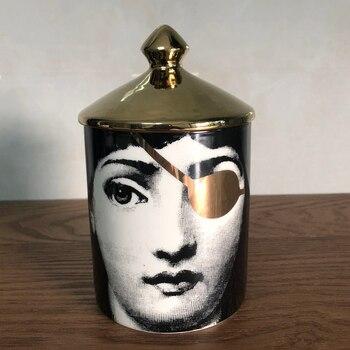 Lady Face Candle Holder Human Face Jar Candelabra Retro Storage Bin Ceramic Cafts Home Decoration Jewerlly Storage Box 14