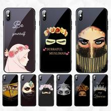 HPCHCJHM Arabic Hijab Girl Queen Crown Phone Case Tempered Glass For iPhone 11 Pro XR XS MAX 8 X 7 6S 6 Plus SE 2020 case nbdruicai ottwn arabic hijab girl queen crown silicone phone case cover for iphone 11 pro xs max 8 7 6 6s plus x 5 5s se xr case
