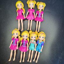 3 pçs bonito adorável meninas princesa polly bolsos menina boneca figuras 9cm para melhor diy mini boneca presentes