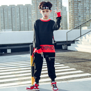 Image 2 - Spring 2019 baby clothes for boys Long Sleeve childrens costume for Baby Boys girls hip hop Jazz Dance Costume t shirt for kids