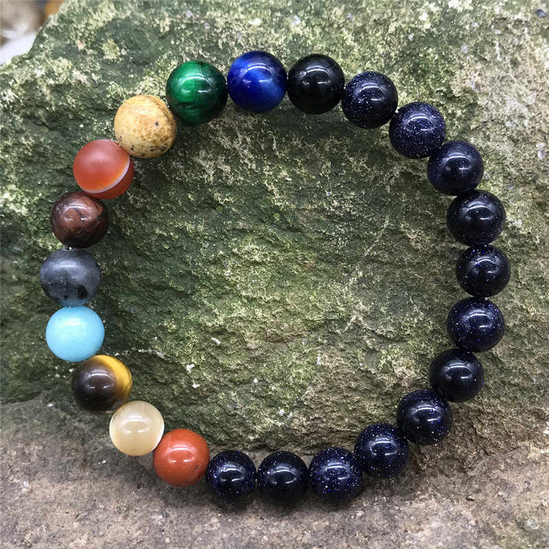 Amoureux huit planètes pierre naturelle Bracelet univers Yoga Chakra galaxie système solaire Bracelets pour hommes femmes bijoux dropshipping
