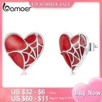 Bamoer Mode Spinne Web Stud Ohrringe 925 Sterling Silber Rote Herzförmige Damen Ohrringe Klassische Hochzeit Schmuck GXE1198