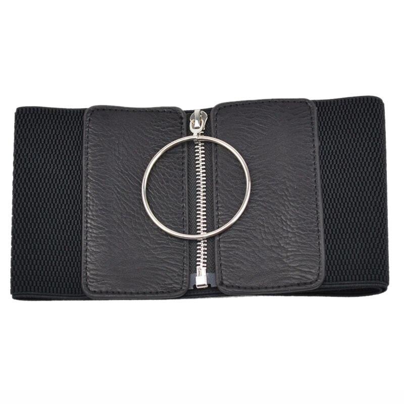 Silver Large Ring Decoration Imitation Leather Ladies Waist Loose Waist Belt Girdle
