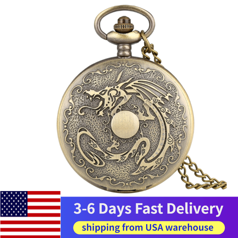 USA Local 3-6 Days Fast Delivery Bronze Fiery Dragon Fire Retro Punk Evil Dragon Quartz Pocket Watch Necklace Pendant Chain Watc