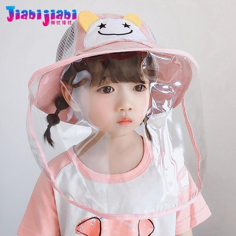Baby Kids Hat Mask Boy Girl Protection Virus Anti-Spitting Virus Face Shield Mask Protetor Facial Plastic Mesh Visor Cap 2-6 Old