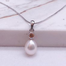 Sinya Natural pearl pendant 925 sterling silver necklace  high luster cz stone charm women Mum lover Jewelry hot sale n090612 21 white keshi pearl necklace cz pendant
