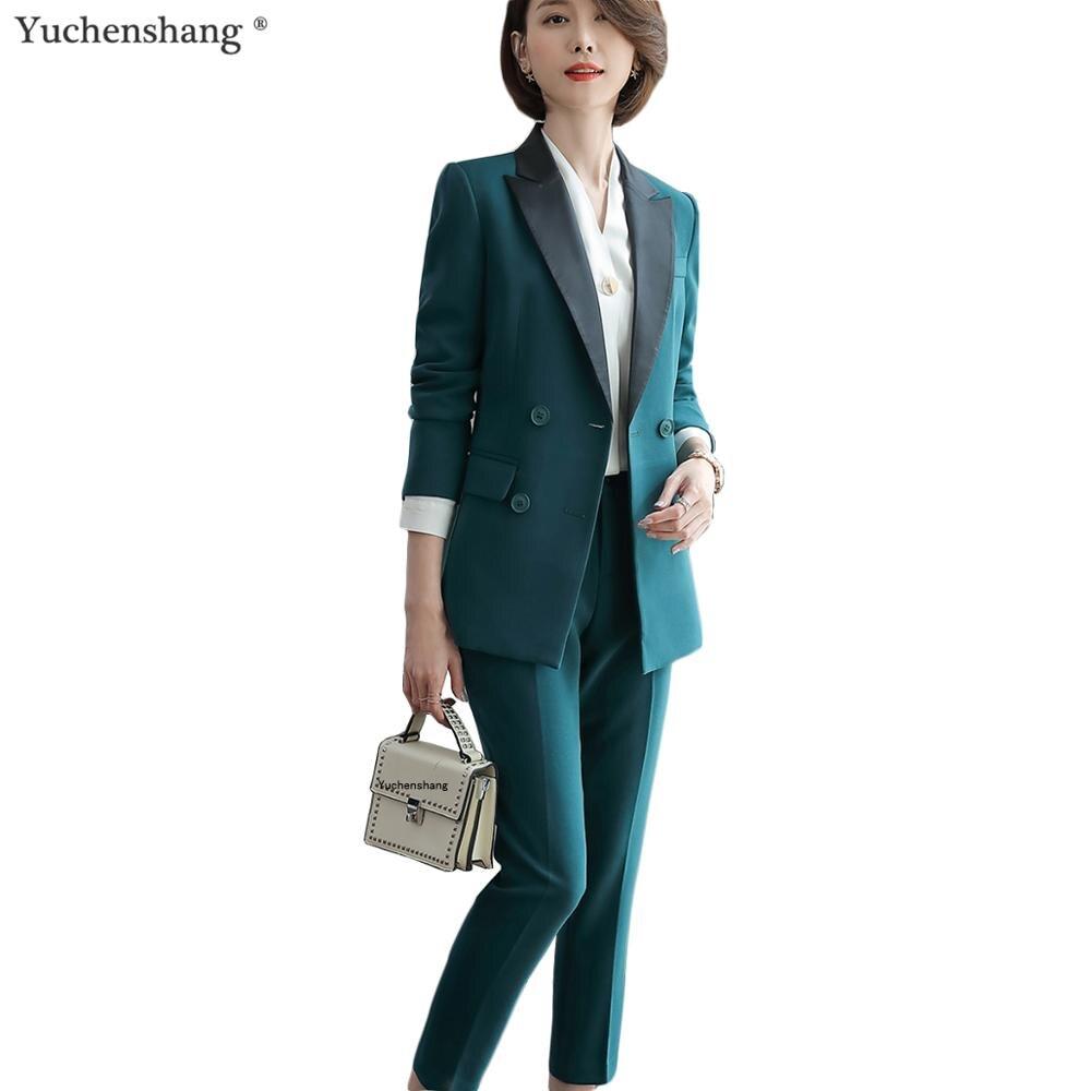 New Autumn Winter Women Pant Suit Female Professional Blazer And Pants Women Pants Suit Green Gray Black 5XL