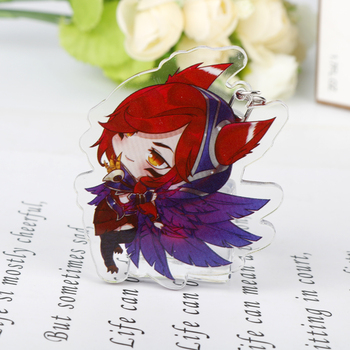 XAYAH and RAKAN Key Chains for Couples Game League of Legend keychain Acrylic Pendant Jewelry dropshipping Accessory 2
