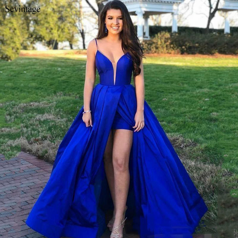 Sevintage Sexy Royal Blue Slit Front Long Prom Dresses Spaghetti Straps Backless Satin Evening Gowns African Robe De Soiree