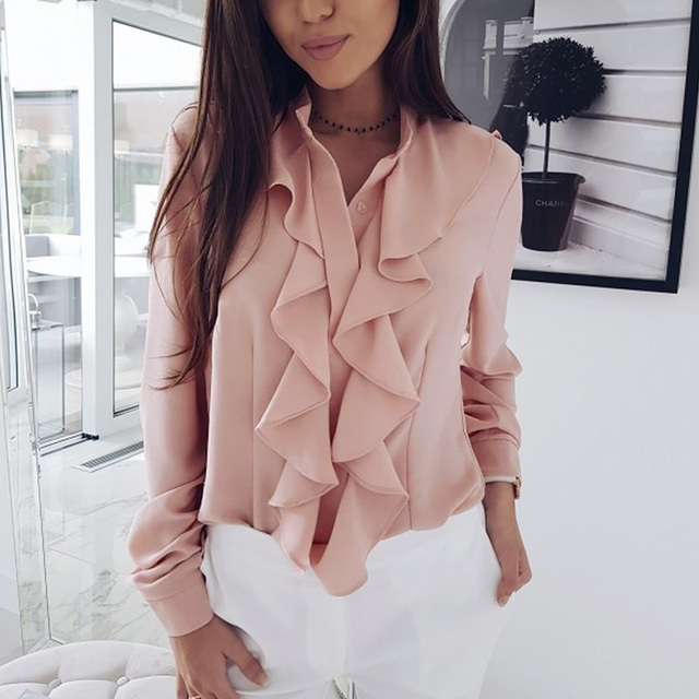 Long Sleeve Ruffled Shirt Women 2020 Fashion Spring Autumn Elegant Blouse Streewear High Quality Pure Color White Black Tops 3