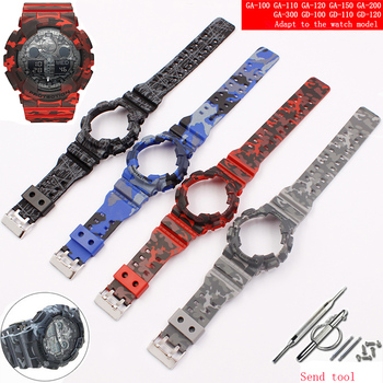 Watch accessories resin strap 16mm for camouflage Casio g-shock GLS GD GA110 GA100 GD120 men's and women's sports watch case military grade anti shock case for casio watch g shock smart watch chronograph sports camouflage tactical military stopwatch