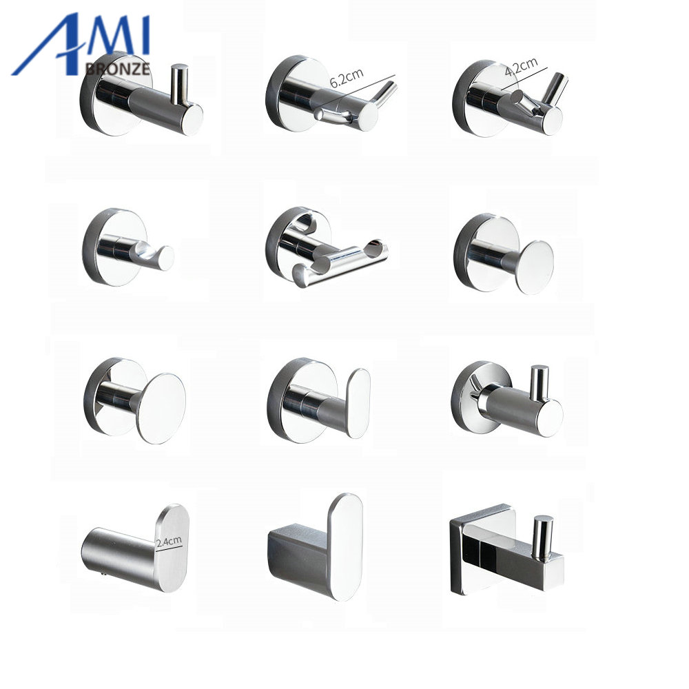 Chrome Polished Stainless Steel Single Robe Hook Wall Mounted Towel Hook Clothes Hook Bathroom Hardware