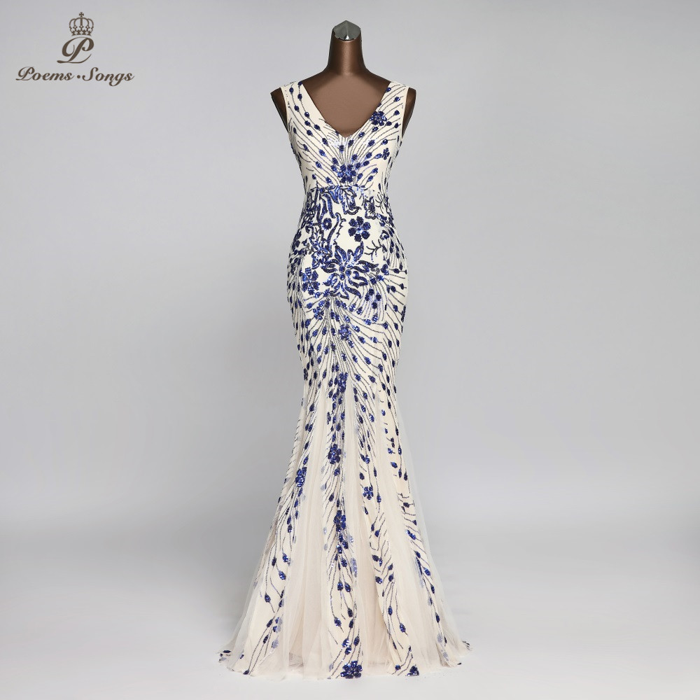 Backless V-neck Evening Dress Sequined Candy Color New Style Mermaid Robe De Soiree Beautiful Evening Gown Formal Party Dress