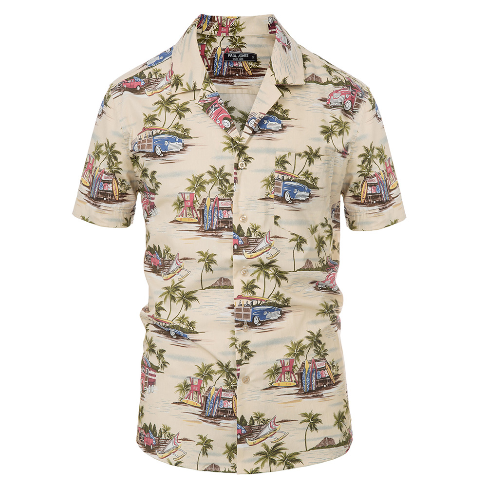 Men's Vacation Shirt Tops Cotton Short Sleeve Camp Collar Curved Hem Casual Shirts Summer Fashion Holiday Hawaii Shirts Male
