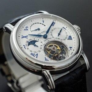 Image 2 - רב פונקציה גברים Tourbillon מכאני שעון לוח שנה Moonphase חיוג ST8007 תנועה Mens Tourbillon יד שעונים 50m