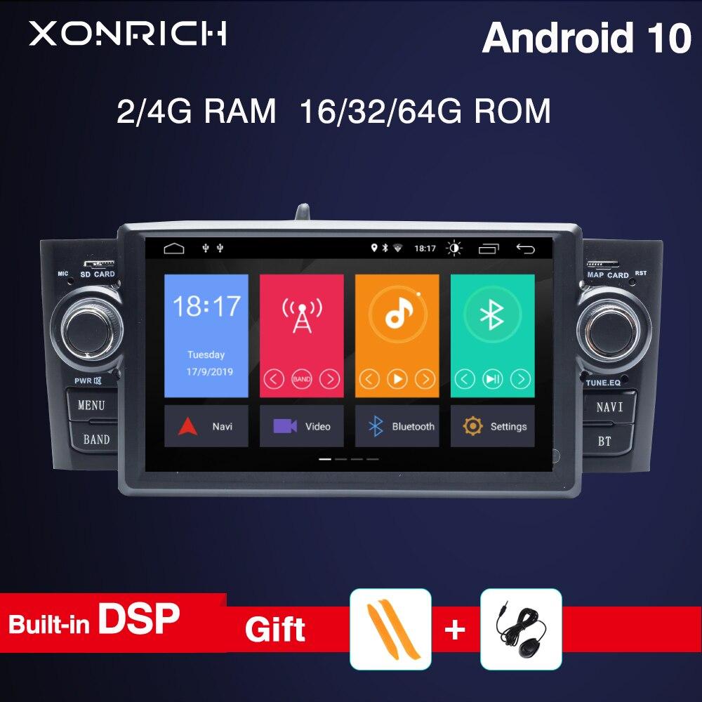 Авторадио 4G 64G DSP 1Din Android 10 автомобильный dvd-плеер для Fiat Grande Punto Linea 2007-2012 gps навигация Мультимедиа Радио экран