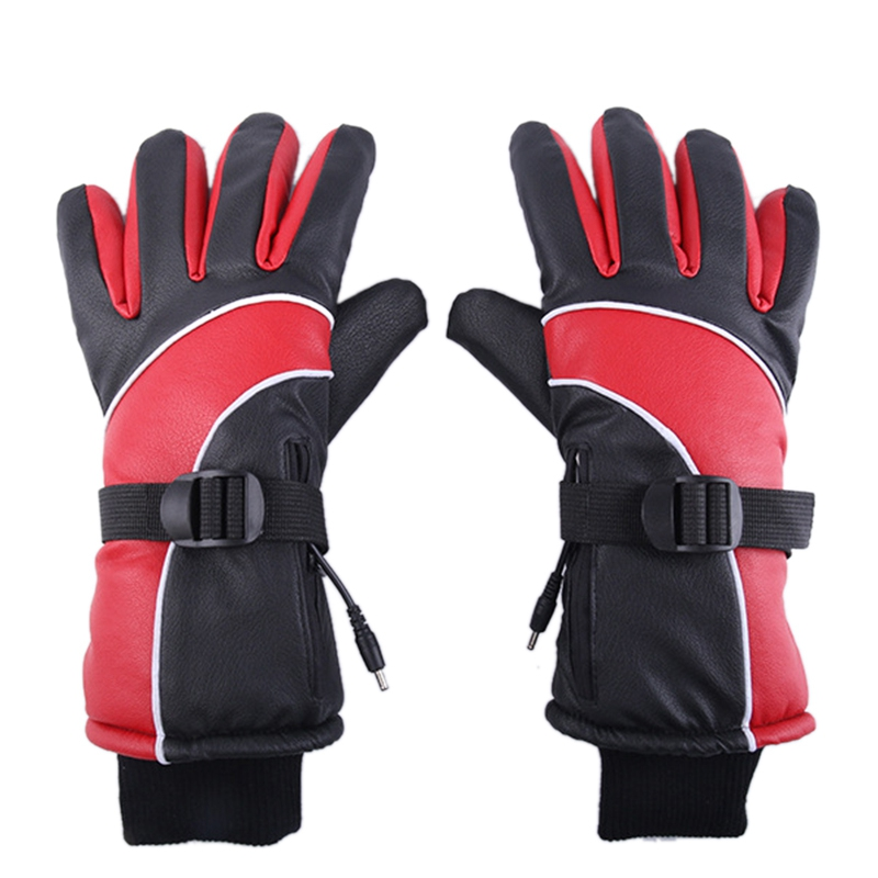Lithium Battery Charging Electric Heating Gloves Heating Gloves Winter Outdoor Sports Waterproof Gloves Red US Plug